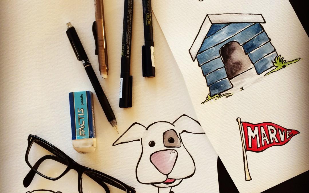 blanke ark og tegnestifter….
